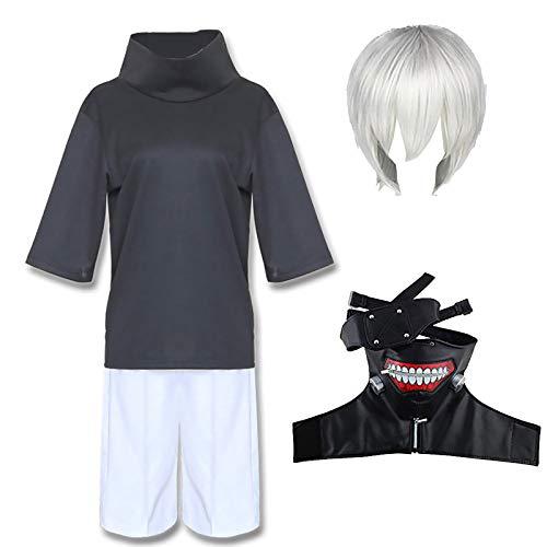 Kaneki Ken Cosplay Kostüm, Anime Tokyo Ghul Kaneki Ken Maske Kostüm Outfit Kampf Uniform Anzug Cosplay Jumpsuit Komplettset für Männer
