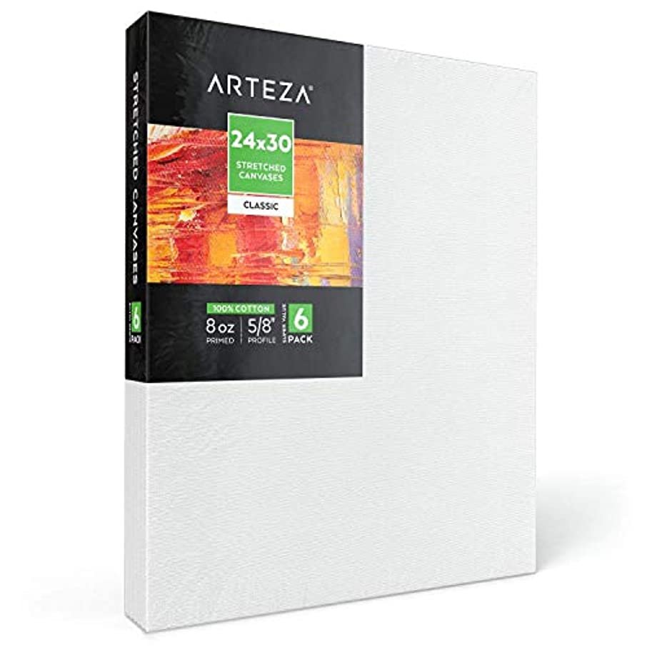 "Arteza 24x30"" Stretched White Blank Canvas, Bulk Pack of 6, Primed, 100% Cotton for Painting, Acrylic Pouring, Oil Paint & Wet Art Media, Canvases for Professional Artist, Hobby Painters & Beginner"