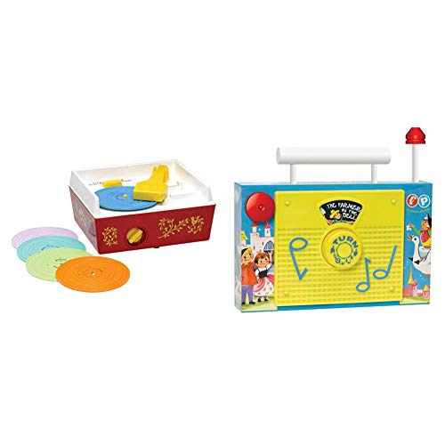 Fisher-Price Classics 1697 Music Box Record Player, Baby Musical Toy, Baby Interactive Toy with 10 Songs, Classic Toy with Retro Style Packaging & Fisher-Price BFI1703 1703 01703, Multi