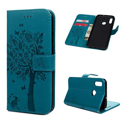 Edauto Hülle für Huawei P Smart 2019 / Honor 10 Lite Leder Handyhülle Flip Case Tasche Wallet PU Schutzhülle Bookstyle Ständer Kartensätze Magnetisch Handytasche Baum Blau