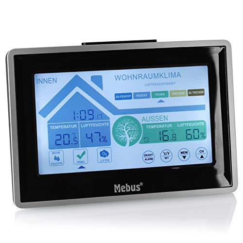 TW24 Mebus funkgesteuerte Wetterstation digital Thermometer Funk mit Außensensor Touch-Display Hygrometer Innen- und Außentemperatur