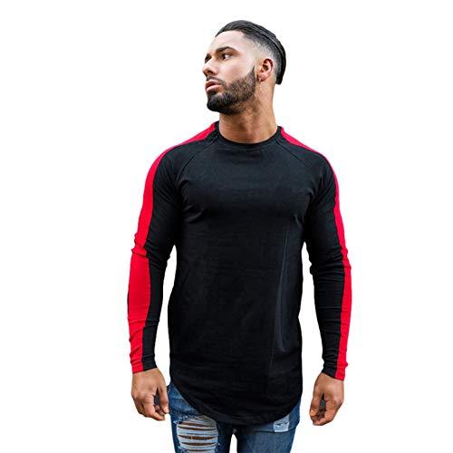 thorityau Einfarbiges T-Shirt Hip-Hop Langärmliges Kurzarm-Oberteil Herren-T-Shirts Mit V-Ausschnitt Und Rundhalsausschnitt