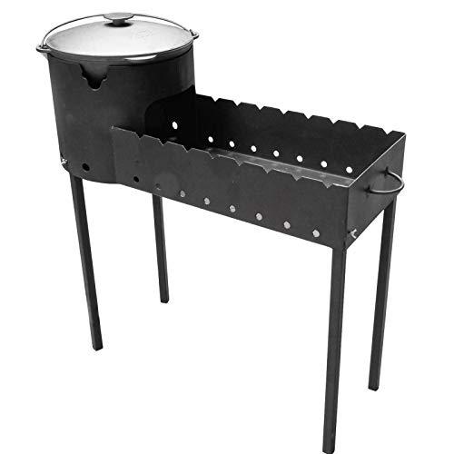 4BIG.fun Cocina exterior de carbón vegetal Mangal con Uchag + olla giratoria de 12 L, asador, asador, de hierro fundido, para barbacoas, calderas, campings, cañones de gulasch.