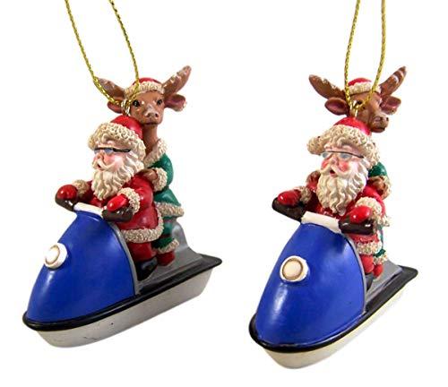 Christmas Ornament Santa and Reindeer Riding Jet Ski Set of 2