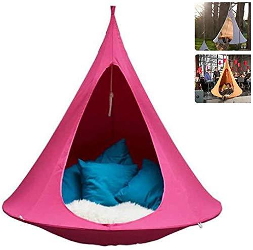 UFO-Form konisches Zelt Baum hängen Pod Stuhl Oxford wasserdicht für Indoor Outdoor Kinder Erwachsene Max. Last 200KG-(180 cm * 150 cm)_Rosa