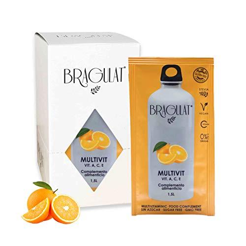 BRAGULAT   Zumo Concentrado de Frutas Multivitamínico   Bebidas y Refrescos Instantáneas en Polvo   Sin Azúcar y con Vitamina C   Agua con Sabor a Naranja   15 Sobres