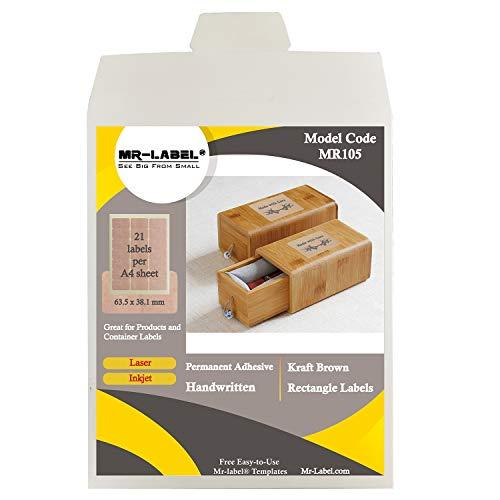 Etiquetas Adhesivas Kraft Rectangulares Marca Mr-Label