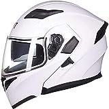 ZHXH Casco cara abierta, casco de motocicleta Flip Four Seasons desmontable con lente doble antiniebla, certificación de punto y estándar Ece