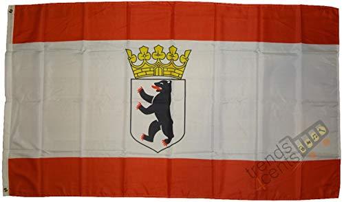Top qualité – Drapeau Berlin avec inscription en allemand – Drapeau des îles de l'ourson – 250 x 150 cm, très résistant aux déchirures, ne contient pas de bilas, poids : env. 100 g/m2