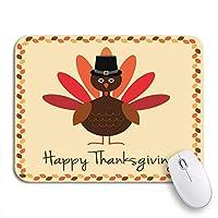 ROSECNY 可愛いマウスパッド アメリカの幸せな感謝祭の七面鳥と巡礼者の帽子秋の秋の滑り止めのゴム製のノートパソコンのマウスパッドのマウスパッド