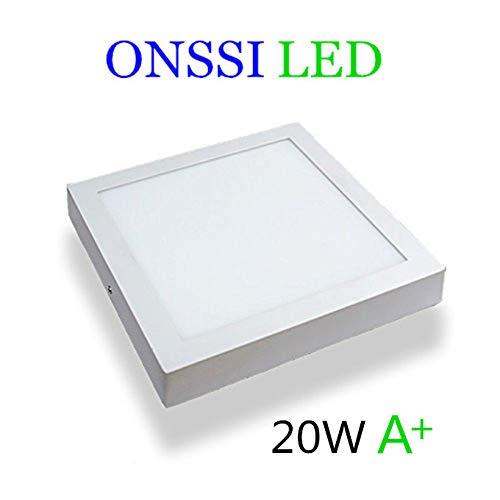 Plafón de Techo LED Cuadrado 22x22 cm, 20W Blanco Frio
