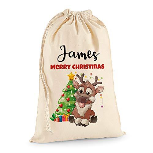 Tullun Personalised Santa Christmas Sack Extra Large XL (75 x 49 cm 38 litres) - Reindeer