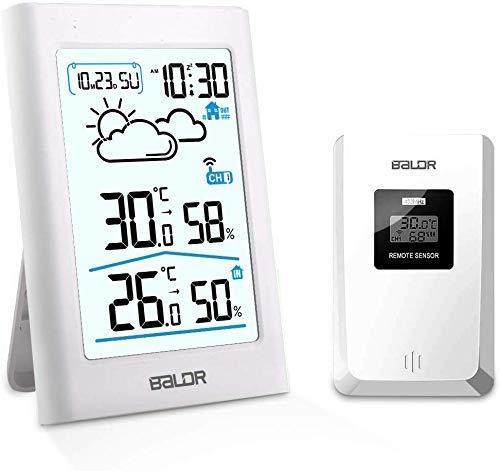 Wetterstation Funk mit Außensensor, Digital Thermometer Hygrometer Innen und Außen Raumthermometer Hydrometer Feuchtigkeit mit Wettervorhersage, Uhrzeitanzeige, Wecker und Nachtlicht (Weiß-b341)