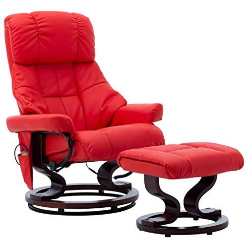 vidaXL Bugholz Massagesessel mit Fußhocker Heizfunktion Relaxsessel Fernsehsessel TV Sessel Relaxliege Liegesessel Ruhesessel Rot Kunstleder