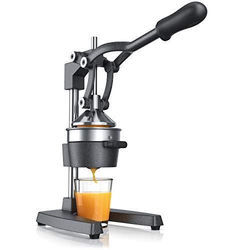 Saftpresse - Handentsafter Edelstahl - mechanischer Entsafter – Orangenpresse Zitruspresse manuell mit Hebel – für Orangen Pampelmusen Zitrusfrüchte - massive Bauweise - Farbe silber schwarz