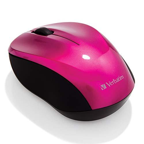 Verbatim kabellose GO NANO-Maus - Optische Funkmaus für PC und Mac mit 2.4 GHz und 1600 dpi Auflösung, Nano-Receiver, pink
