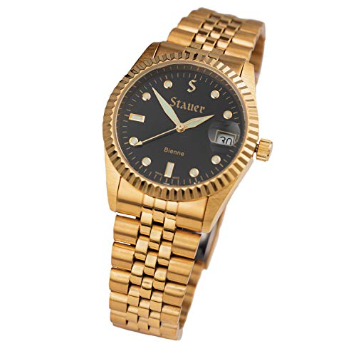 Stauer Men's Swiss Noire Bienne Gold Finsihed Watch