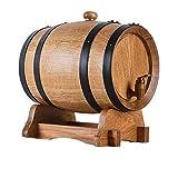 YINGJI Barril de Roble Barril de Roble, Cubo de Almacenamiento de Roble Real Sin Revestimiento Seguro y No Tóxico Adecuado para Elaborar Vino (3L) (Color : Barrel+Vent Plug, Size : 3L)