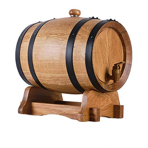 Yimihua Barril de Vino Barrica de Roble Envejecido, Cubo de Almacenamiento de Roble Puro Resistente al Desgaste y Duradero Adecuado for Preparar Vino y Almacenar Brandy de Whisky(3L).