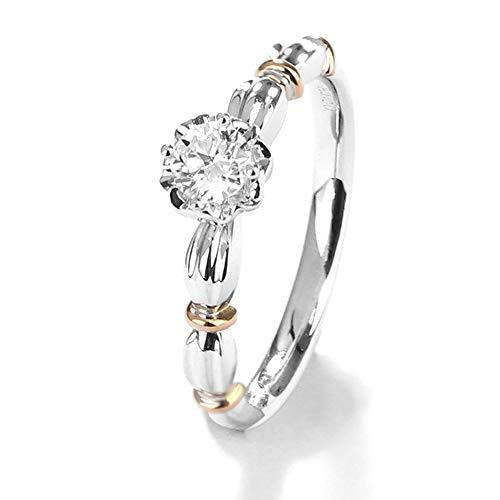 TIANRAO Anillos de Compromiso de Diamantes de 0.24 Quilates de Oro Blanco de 18 Quilates Promesa para Mujer Anillo de Matrimonio, F-G, VS,N1/2