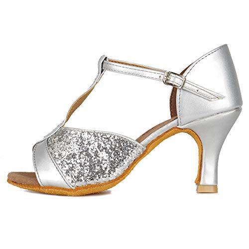 HIPPOSEUS Zapatos de Baile Latino con Correa en T para Mujer Zapatos de práctica de Baile de Salsa con Lentejuelas,Plateados,37.5 EU