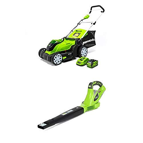 Greenworks 17-Inch 40V Cordless Lawn Mower with 40V 150 MPH Variable Speed Cordless Blower Battery Not Included 24282