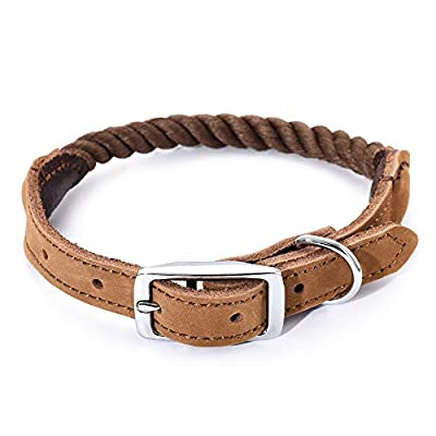 "Mile High Life | Premium Cotton Rope Dog Collar | Stainless Steel Pin Buckle Ring Dog Collar | Genuine Leather Belt Collar | for Medium Dog Large Dogs(Beige Medium Neck 14""-18"" -40 lb)"
