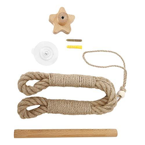 Rejilla para papel higiénico, Toallero de estanqueidad autoajustable Fácil de montar Cuerda de cáñamo con efecto decorativo y Portapapeles redondo de madera para inodoro y baño