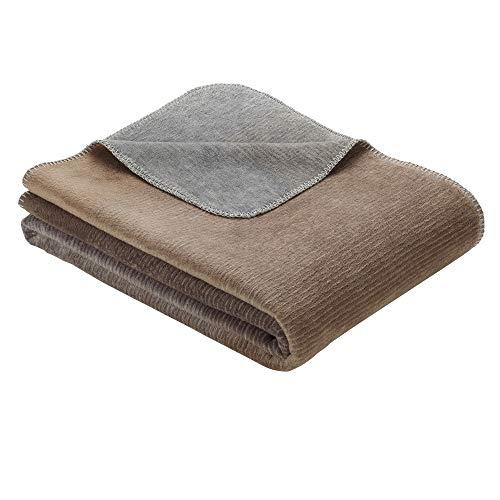 Ibena Kuscheldecke Toronto, Wolldecke braun/grau mit abgestimmten Farbverlauf, super kuschelige Tagesdecke 150x200cm, hochwertige Markenqualität
