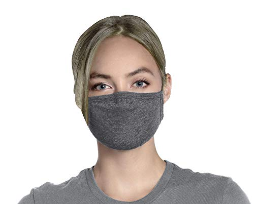 Gray Face Mask Grey Reusable Washable With HEAD STRAPS and Nose Wire Soft Breathable Premium Poly Cotton Jersey Cloth Fabric For Men And Women 3 Layers For Added Protection And Covering 3 Ply