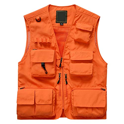 Herren Mesh Multifunktionsweste Summer Outdoor Sport Weste mit Vielen Taschen für Angeln Jagd Camping Safari (XL (Label 3XL), Orange)