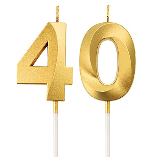 BBTO 40. Geburtstag Kerzen Kuchen Ziffer Kerzen Alles Gute zum Geburtstag Kuchen Topper Dekoration für Geburtstag Party Hochzeit Jahrestag Feier Lieferungen