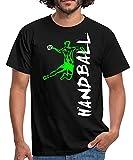 Spreadshirt Joueur De Handball À L'Attaque T-Shirt Homme, M, Noir