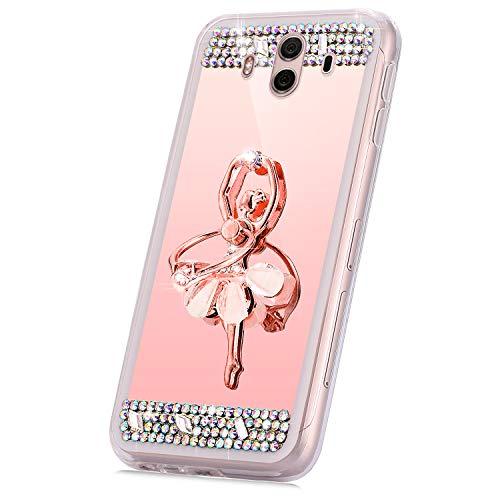 JAWSEU Compatible avec Huawei Mate 10 Coque Miroir Silicone,Cristal Brillant Bling Glitter Miroir Housse Femme Fille[Support de Bague] Slim Souple Gel Paillettes Strass Case,Or Rose