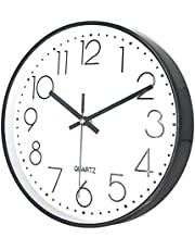 """Delgeo Reloj de Pared, Decoración de Pared Moderna, Reloj de Pared Silencioso para Hogar / Oficina / Cocina Decorativos (30 cm / 12 """", Blanco con Marco Negro)"""