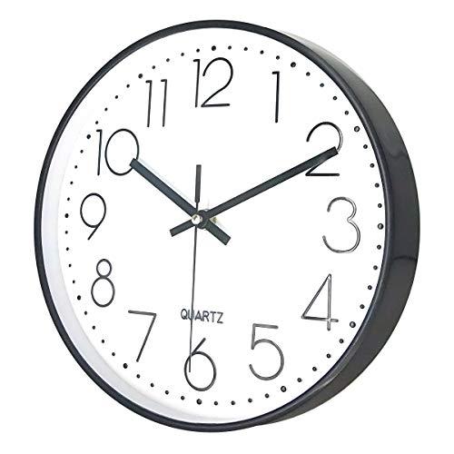 Delgeo Reloj de Pared, Decoración de Pared Moderna, Reloj de Pared Silencioso para Hogar / Oficina / Cocina Decorativos (30 cm / 12 ', Blanco con Marco Negro)