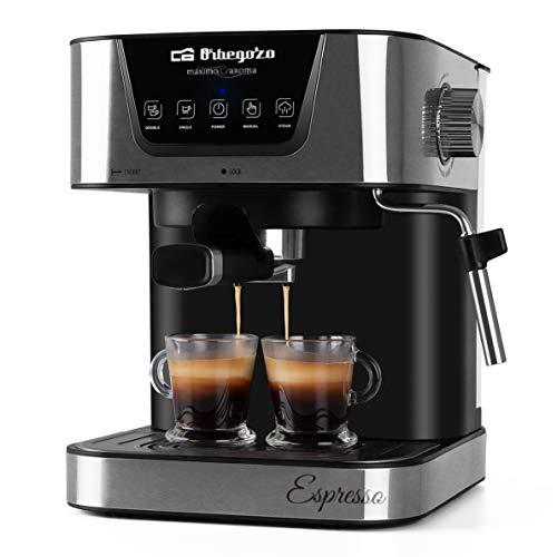 Orbegozo EX 6000 - Cafetera para espresso y cappucino, 20 BAR de presión, depósito 1,5 L, apta para monodosis, 1050 W de potencia