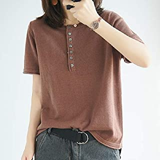 T-Shirt Round Neck Knitted Short Sleeve T-Shirt T-Shirt (Color : Brown, Size : Free Size)