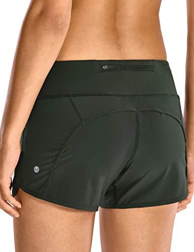 CRZ YOGA Damen Sport Shorts Soprtswear Shorts 2 in 1 Laufshorts - Elastizität Leicht - 10cm Olivgrün-R403 40