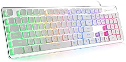 LANGTU L1 Membrane Gaming Keyboard Rainbow LED Backlit USB PC and Laptop Gamers Windows 104 Keys Anti-ghosting 24 Keys...
