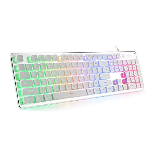 QWERTY US Layout LANGTU Membrane Gaming Tastatur Wired mit Regenbogen LED Hintergrundbeleuchtung 25 Tasten Anti-Ghosting 104 Tasten LED Tastatur Weiß/Silber L1