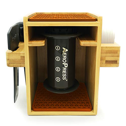 HEXNUB – Compact Organizer Compatible with AeroPress Caddy Station Holds AeroPress Coffee Maker Filters Accessories Silicone Dripper Mat Compact Keeps Area Clean and Orderly Brown