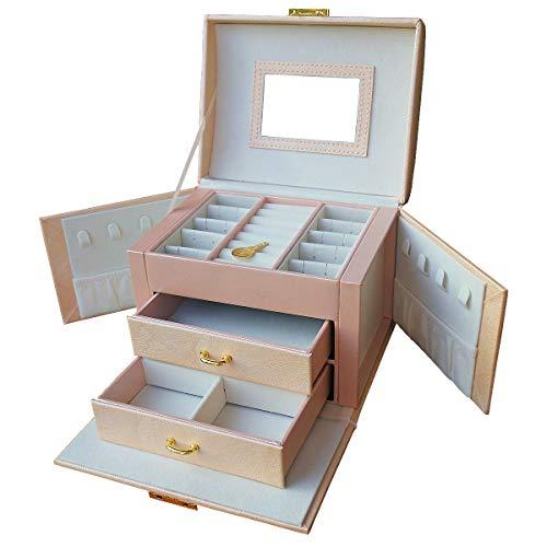 DOURR Organizador de joyas, caja de joyería portátil de viaje, caja de almacenamiento con cerradura para joyas, collar, pendientes, regalos para niñas y mujeres (beige)