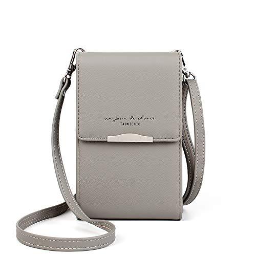 Katech Damen Kleine Umhängetasche, Multifunktionale Handytasche Citytasche Schultertasche mit Vielen Fächern und Kartenfächer, Crossbody Tasche für Damen (Grau)