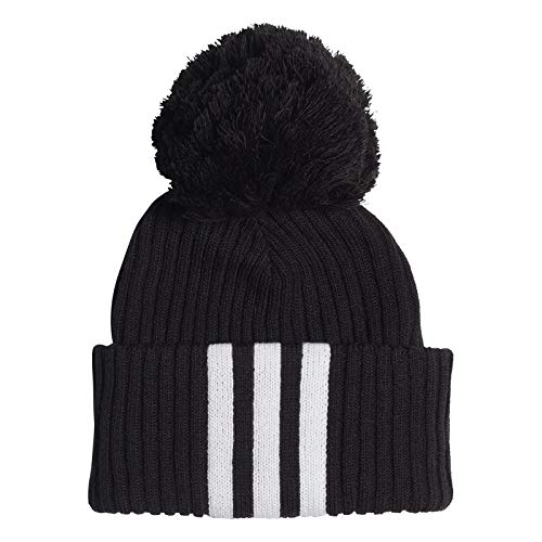 adidas Kinder Fat Brim Beanie Hat, Black/White/White, OSFW