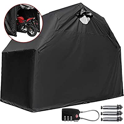 Happybuy Motorcycle Shelter Storage Waterproof Motorbike Storage Tent Oxford 600D Black Color Motorcycle Shelter Shed with TSA Code Lock & Carry Bag by Happybuy