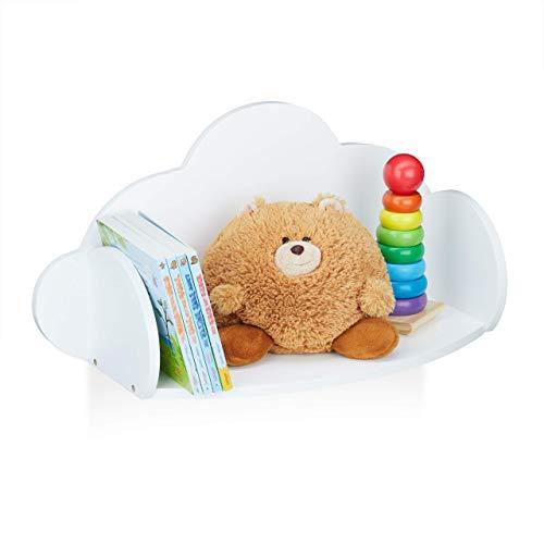Relaxdays Wandregal Wolke, Hängeregal fürs Kinderzimmer, MDF, Deko, Wandbücherregal Kinder, HBT 31,5 x 60 x 21cm, weiß