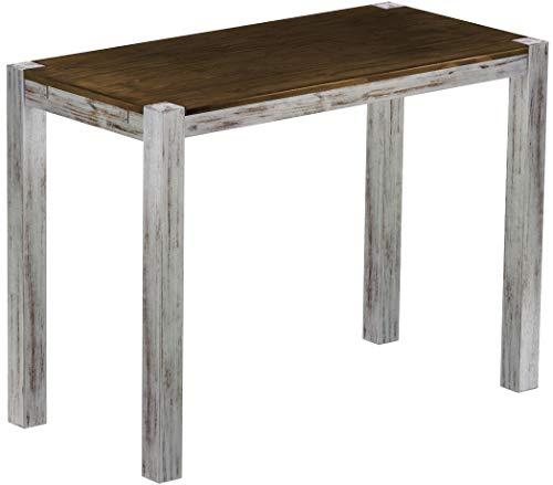 Brasil Furniture Rio Kanto 150x73 cm Shabby plaat eiken bartafel houten tafel massief houten statafel bistrotafel vlechten bar thektafel echt hout grootte en kleur naar keuze