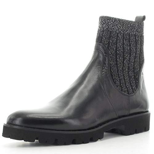 MARIPE 27101-173665 korte laarzen met markante rubberen zool - bovenmateriaal nappaleder/stretch zwart/zilver - leren voering - Made in Italy