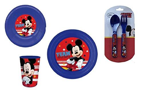 Mickey Mouse 4 Piezas Comida Set con Plato, Bol, Vaso y Juego...
